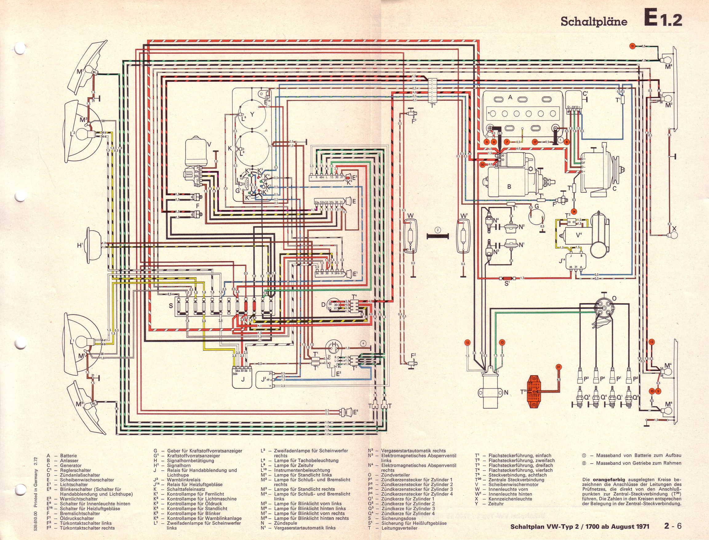 Baduras Volkswagen T2 Bulli Seite Stromlaufplne Wiring Diagram T4 Transporter 17 L Vergasermotor Ab August 1971