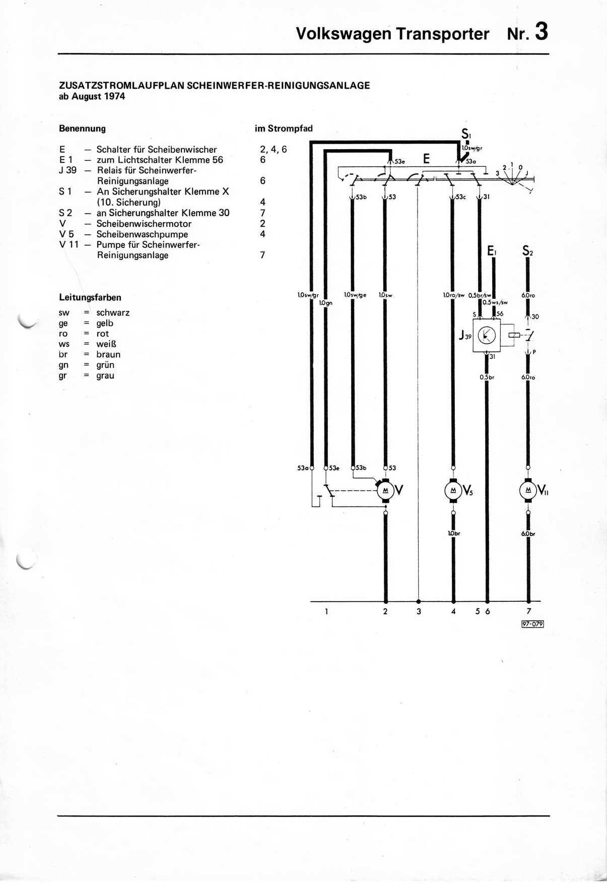 ... Zusatzstromlaufplan Scheinwerfer-Reinigungsanlage ab August 1974 ...