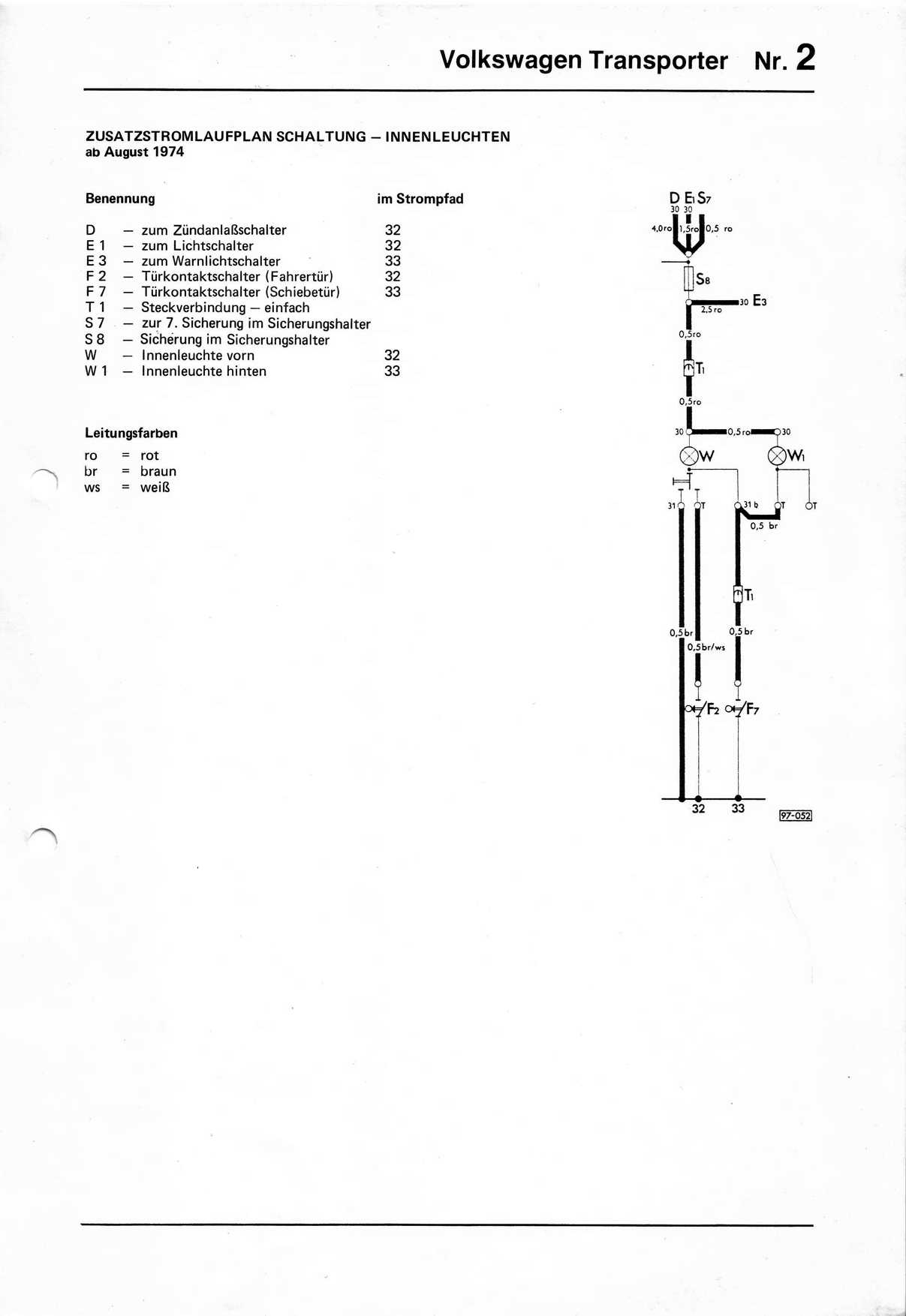 ... Zusatzstromlaufplan Schaltung - Innenleuchten ab August 1974 ...