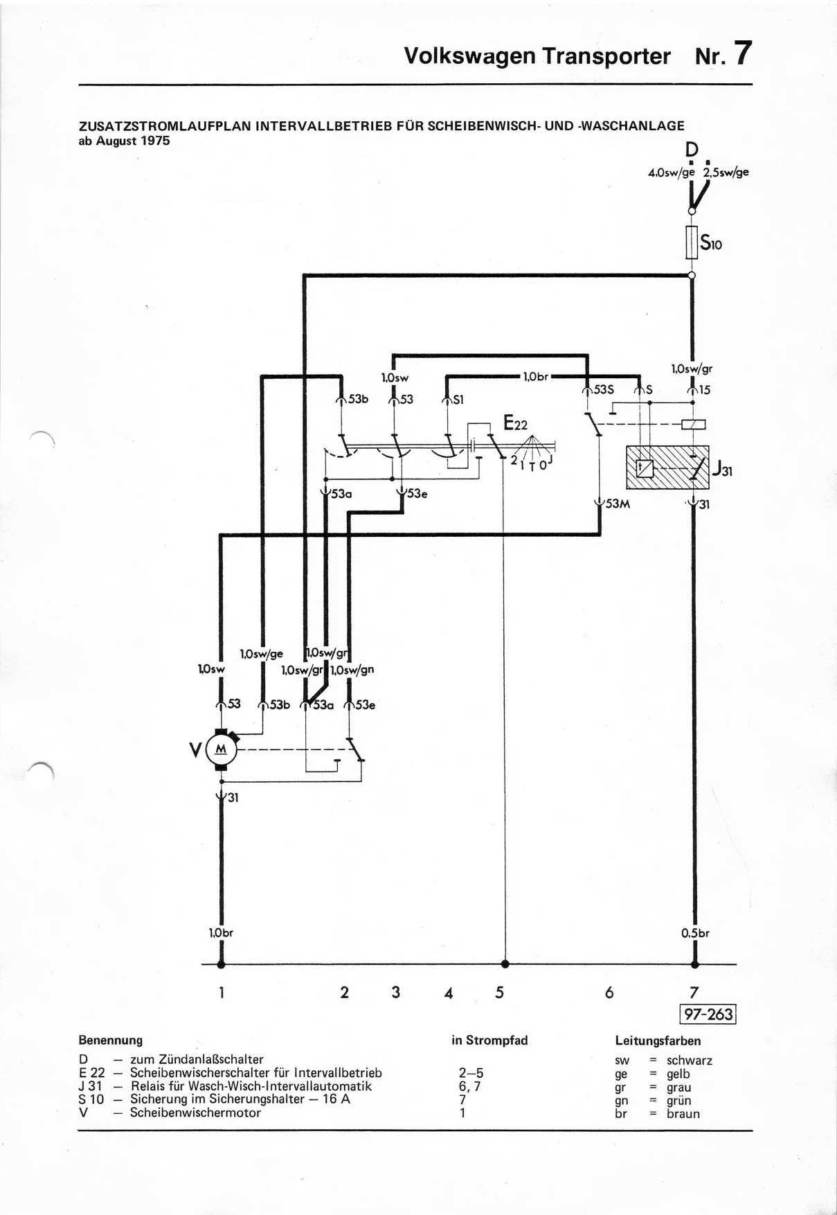 Baduras Volkswagen T2 Bulli Seite Stromlaufplne Wiper Wiring Diagram Zusatzausrstung