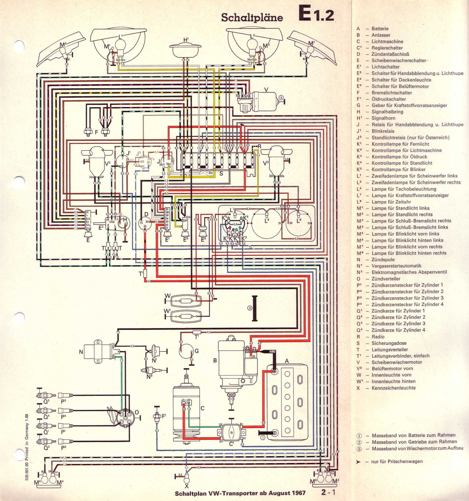 Vw T2 Wiring Diagram 1977 Library Volkswagen Transporter 16 L Vergasermotor Ab August 1967